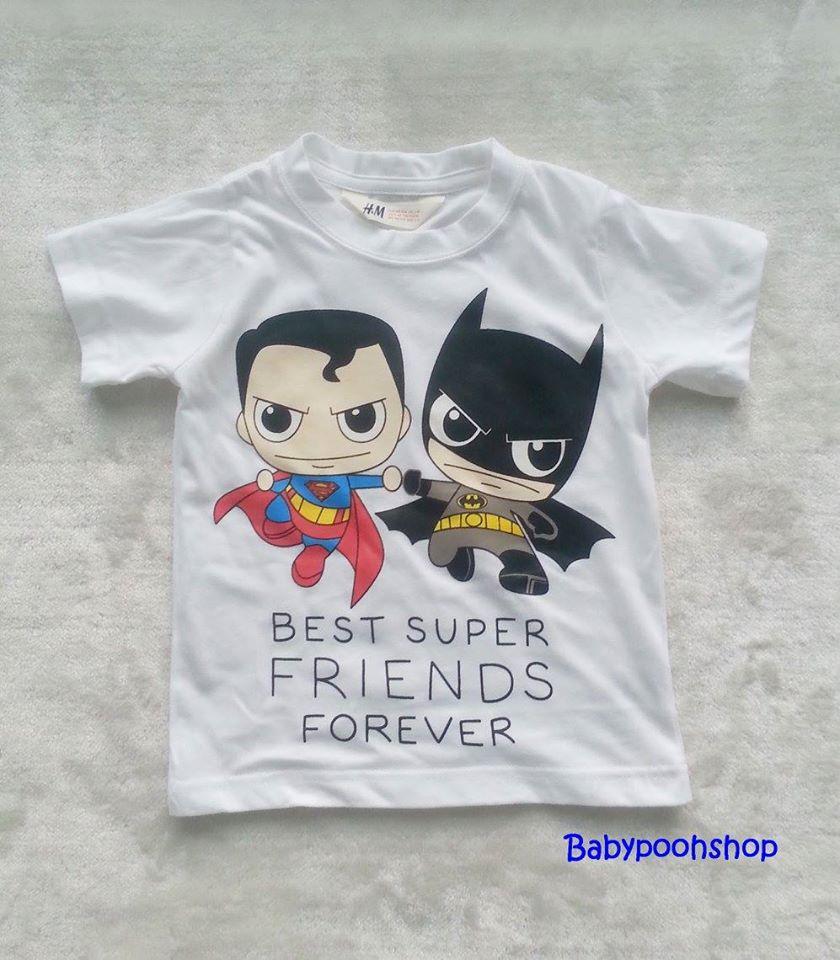 H&M : เสื้อยืด สกรีนลาย Best super friends สีขาว size : 4-6y / 8-10y