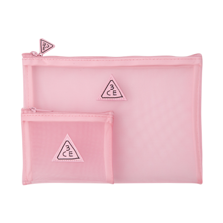 3CE Stylenanda Pink Rumour Mesh Pouch [22.5 cm x 15 cm]