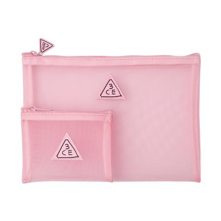 3CE Stylenanda Pink Rumour Mesh Pouch [22.5 cm x 15 cm]