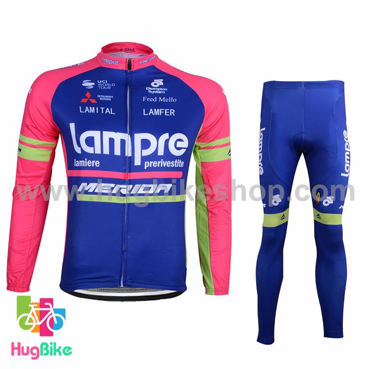 ชุดจักรยานแขนยาวทีม Lampre 16 (01) สีชมพูน้ำเงิน