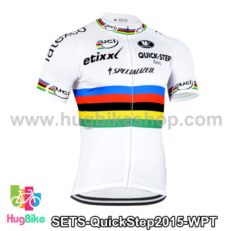 เสื้อจักรยานแขนสั้นทีม QuickStep 2015 สีขาวลาย สั่งจอง (Pre-order)