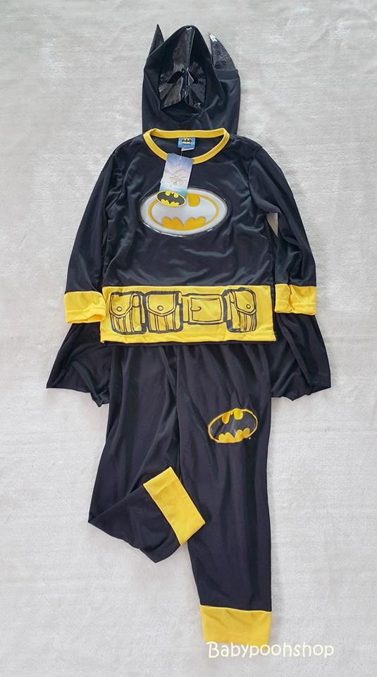 set Batman เสื้อแขนยาว+กางเกงขายาว+ผ้าคลุมมีหน้ากาก size : M (4-5y) / XL (8-9y)