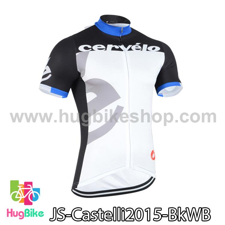 เสื้อจักรยานแขนสั้นทีม Castelli 2015 สีดำขาวฟ้า สั่งจอง (Pre-order)