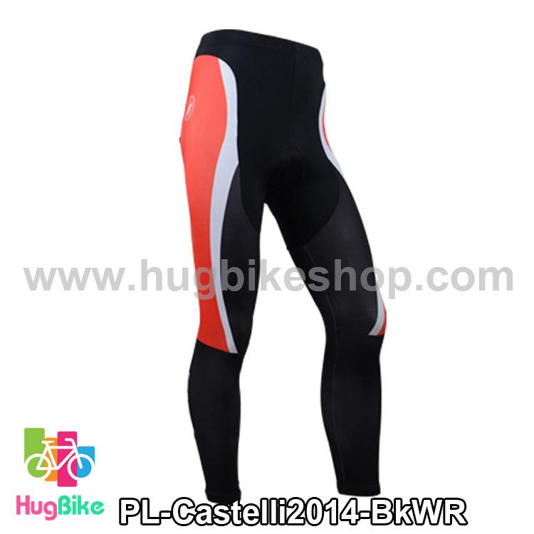 กางเกงจักรยานขายาวทีม Castelli 14 สีดำขาวแดง สั่งจอง (Pre-order)