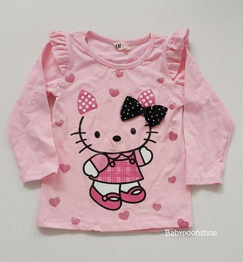 เสื้อแขนยาว ลายคิตตี้ สีชมพูหวาน size : 1.5-2y / 6-8y / 8-10y