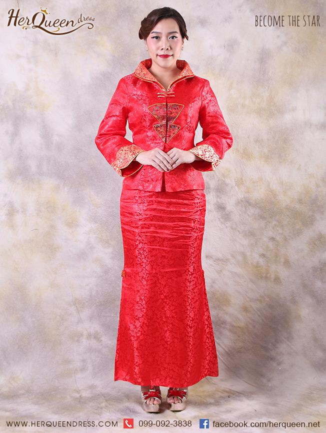 เช่าชุดราตรี &#x2665 ชุดแฟนซี แนวชุดจีน ปกตั้งสองชั้น - สีแดง