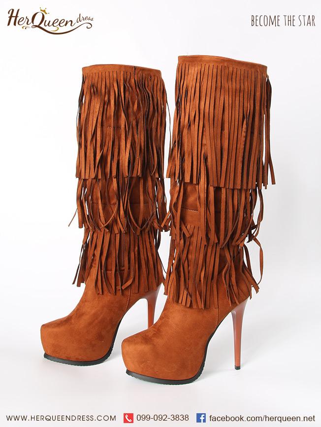 เช่ารองเท้า &#x2665 รองเท้าบู๊ท แต่งพู่ แนวตะวันตก อินเดียแดง West world - สีน้ำตาล