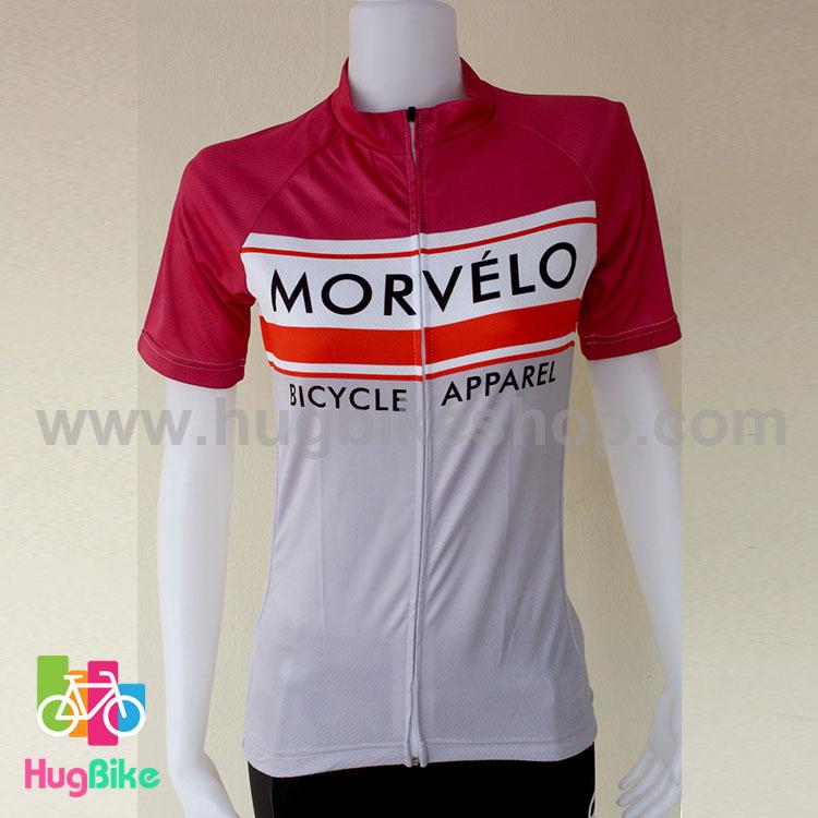 เสื้อจักรยานผู้หญิงแขนสั้น Morvelo 16 (03) สีเทาชมพูขาว