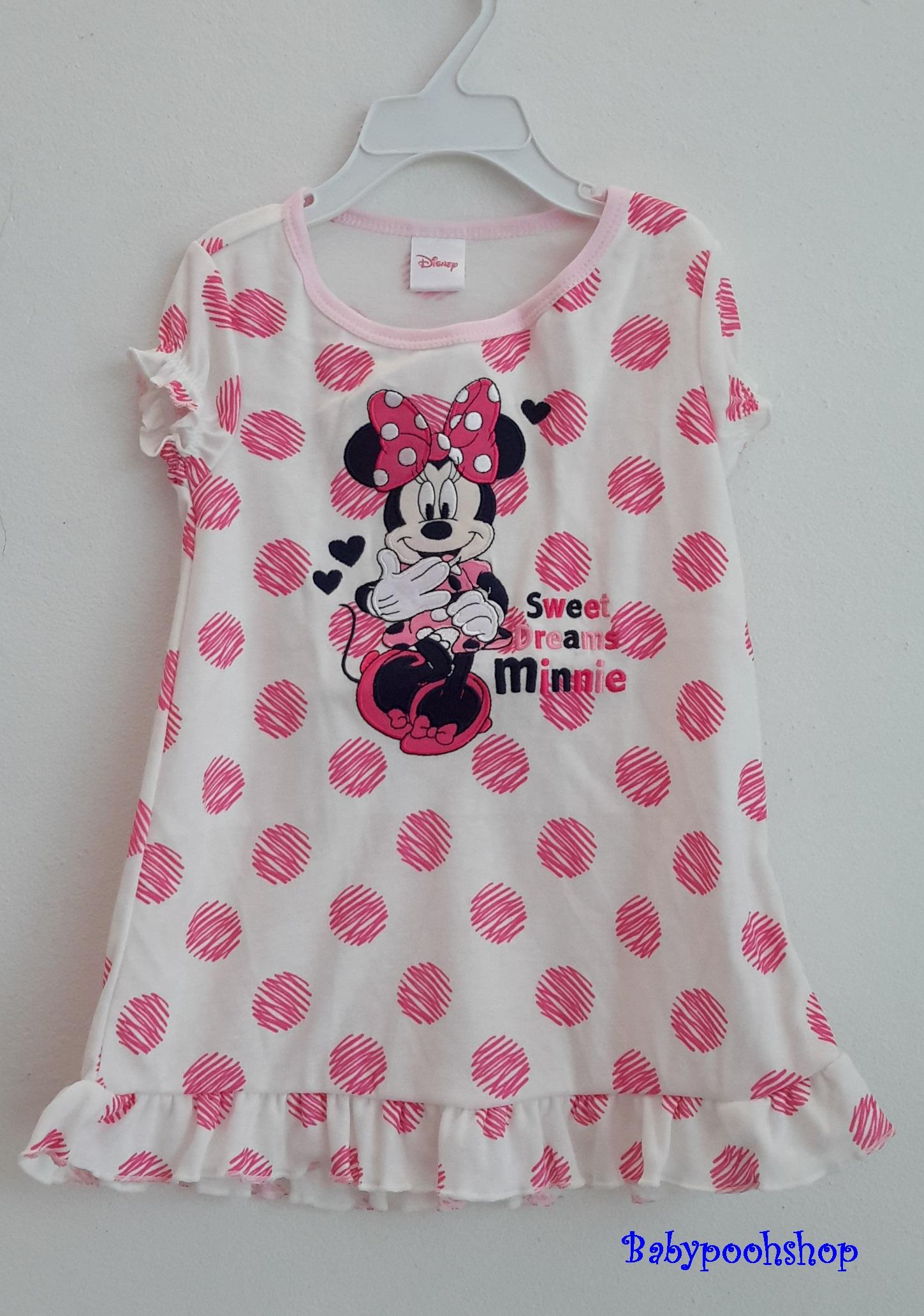 Disney : ชุดนอน ผ้า cotton ยืด สีขาว จุดลายชมพูใหญ่ ปักรูปมินนี่ Size : 12-18m / 18-23m
