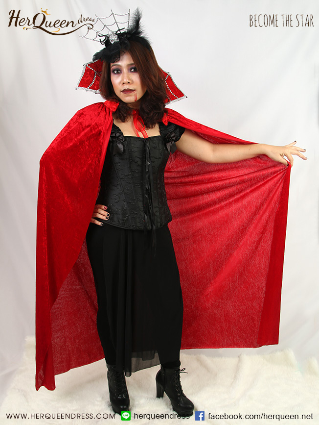 เช่าแฟนซี ♥ ชุดแฟนซี ฮาโลวีน แดรกคูล่า ผ้าคลุมแดง