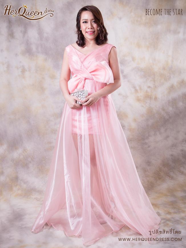 เช่าชุดราตรี &#x2665 ชุดราตรี ยาว ผ้าเกล็ดปลา ทับผ้าแก้วโบว์หน้า - สีชมพู