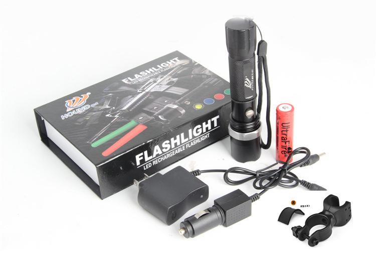 ไฟหน้าจักรยาน แบบไฟฉายปรับ Zoom ได้ ครบชุด สว่างมาก ชาร์ตไฟได้ รุ่น HOUND