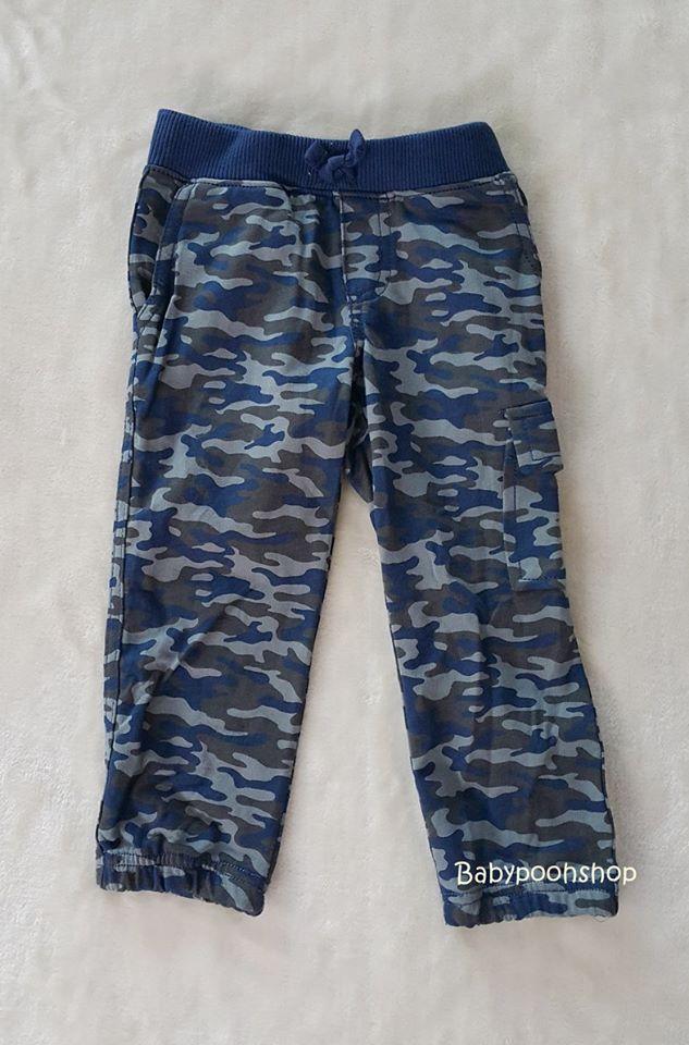 Carter's : กางเกงขายาว ลายพรางสีน้ำเงิน กระเป๋าข้าง (งานตัดป้าย) size : 2T / 4T
