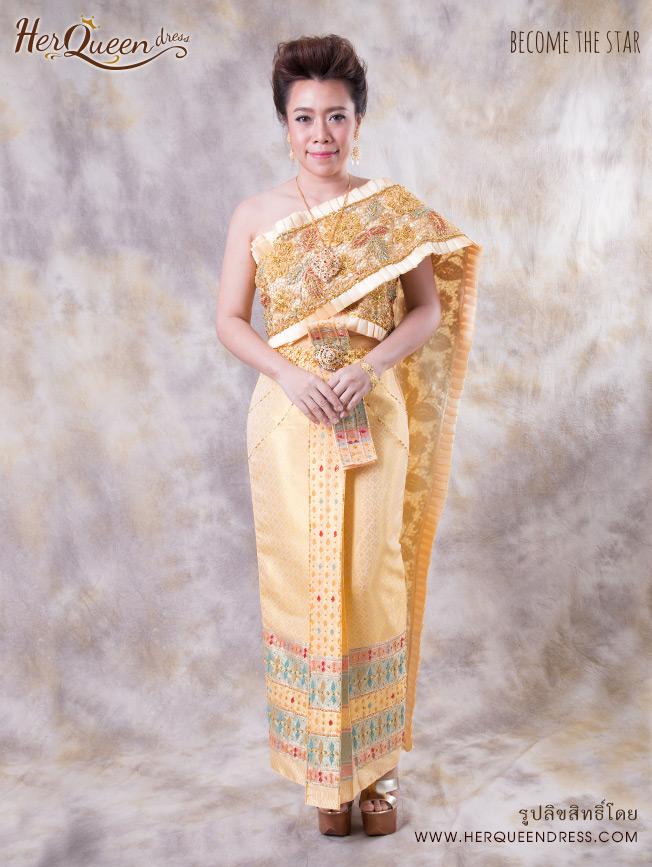 เช่าชุดไทย &#x2665 ชุดไทยประยุกต์ สไบผ้าเนื้อบางพริ้ว เกล็ดทองเล็ก สวยหวาน ซิ่นจับหน้านางระบาย 9 ชั้น - สีโอโรส สำเนา