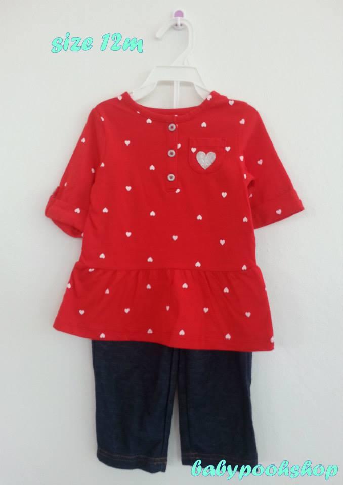 Carter's : ชุดเซ็ทเสื้อลายหัวใจสีแดงพร้อมกางเกงสียีนส์