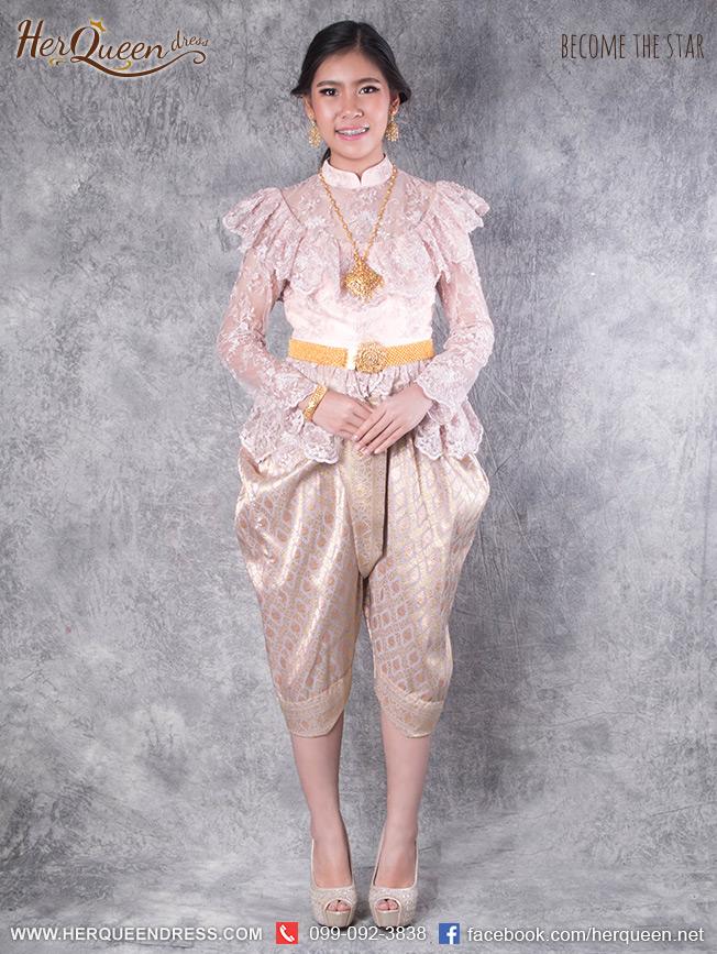 เช่าชุดไทย &#x2665 ชุดไทย ร.5 ลูกไม้ปัก สีชมพู โจงกระเบน