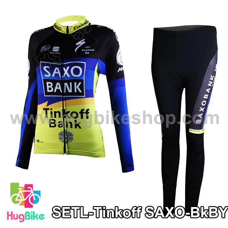 ชุดจักรยานแขนยาวทีม Tinkoff SAXO สีดำน้ำเงินเหลือง
