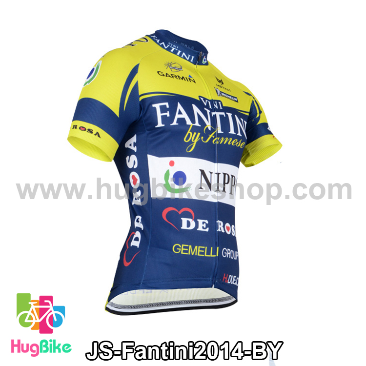 เสื้อจักรยานแขนสั้นทีม Fantini 2014 สีน้ำเงินเหลือง สั่งจอง (Pre-order)