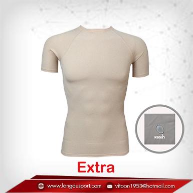 เสื้อรัดกล้ามเนื้อ แขนสั้นคอกลม สีเนื้อ wheat รุ่น extra (สุดยอดผ้ายืดผิวผ้าลื่น)