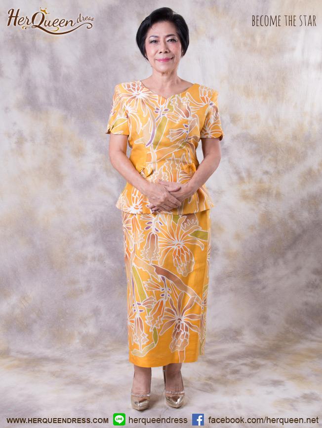 เช่าชุดราตรี &#x2665 ชุดออกงาน แบบผู้ใหญ่ ไหมไทยแท้บาติก - สีเหลืองสดใส