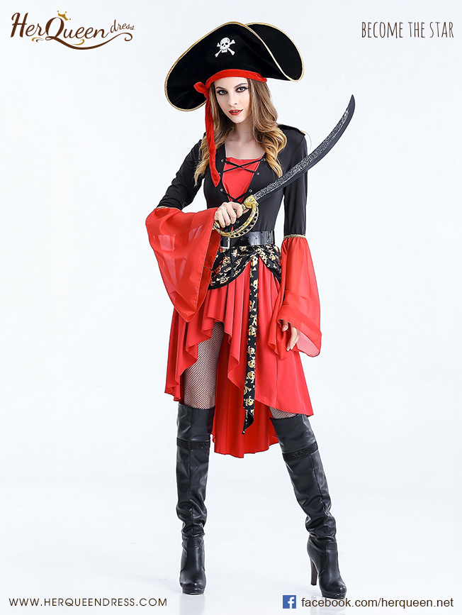 เช่าชุดแฟนซี &#x2665 ชุดแฟนซี ชุดโจรสลัด สีแดงแขนกระดิ่ง แต่งผ้าพันสะโพกลายกระโหลก