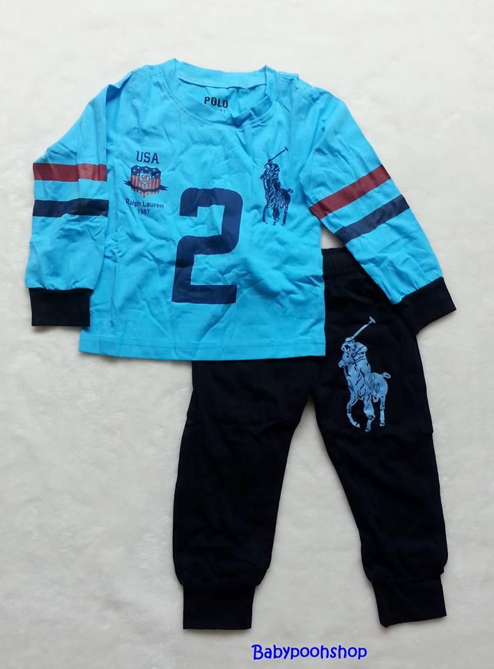 POLO : Set เสื้อแขนยาว+กางเกงขายาว สีฟ้า-กรม สกรีนม้าโปโล เลข 2 ตัวโต Size : 8y