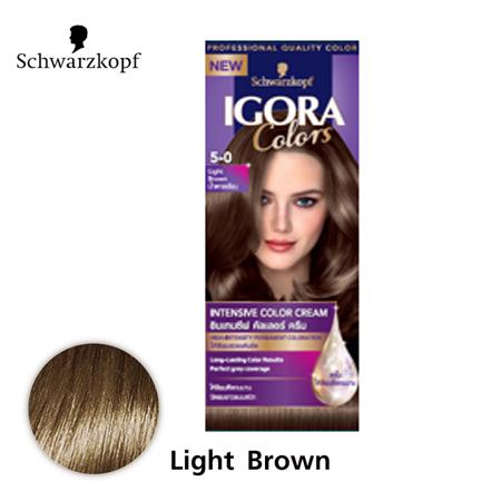 Schwarzkopf IGORA Colors อีโกร่า อินเทนซีฟ คัลเลอร์ ครีม 5-0 Light Brown น้ำตาลอ่อน