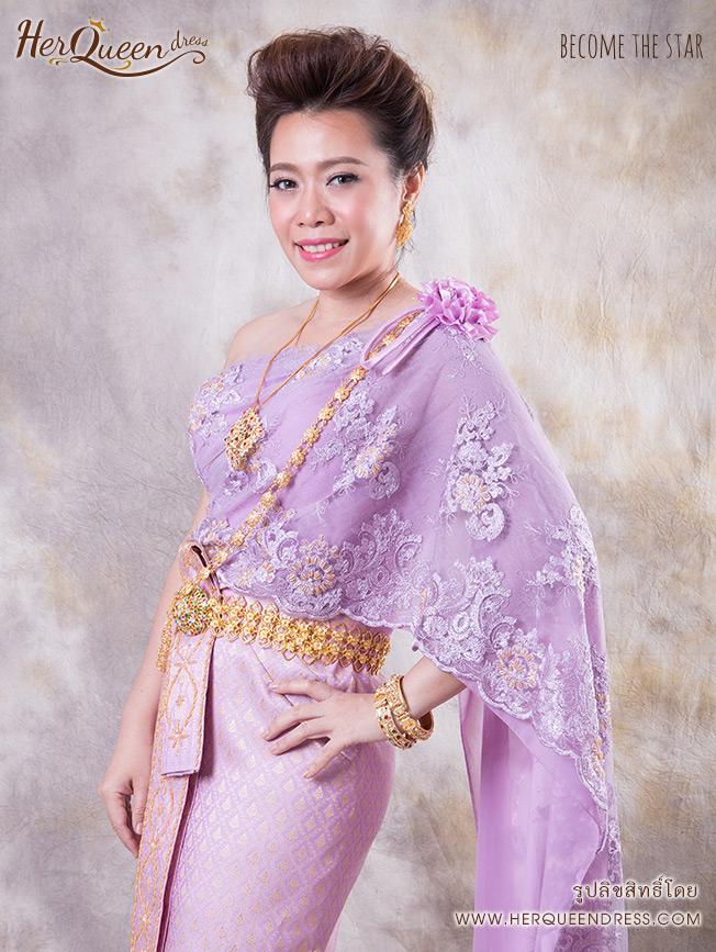 เช่าชุดไทย &#x2665 ชุดไทย สไบลูกไม้ฝรั่งเศส สีม่วงหวาน