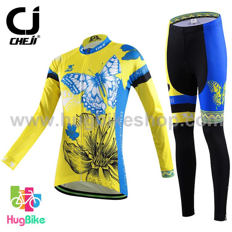 ชุดจักรยานผู้หญิงแขนยาวขายาว CheJi 15 (10) สีเหลืองน้ำเงิน ลายผีเสื้อ สั่งจอง (Pre-order)