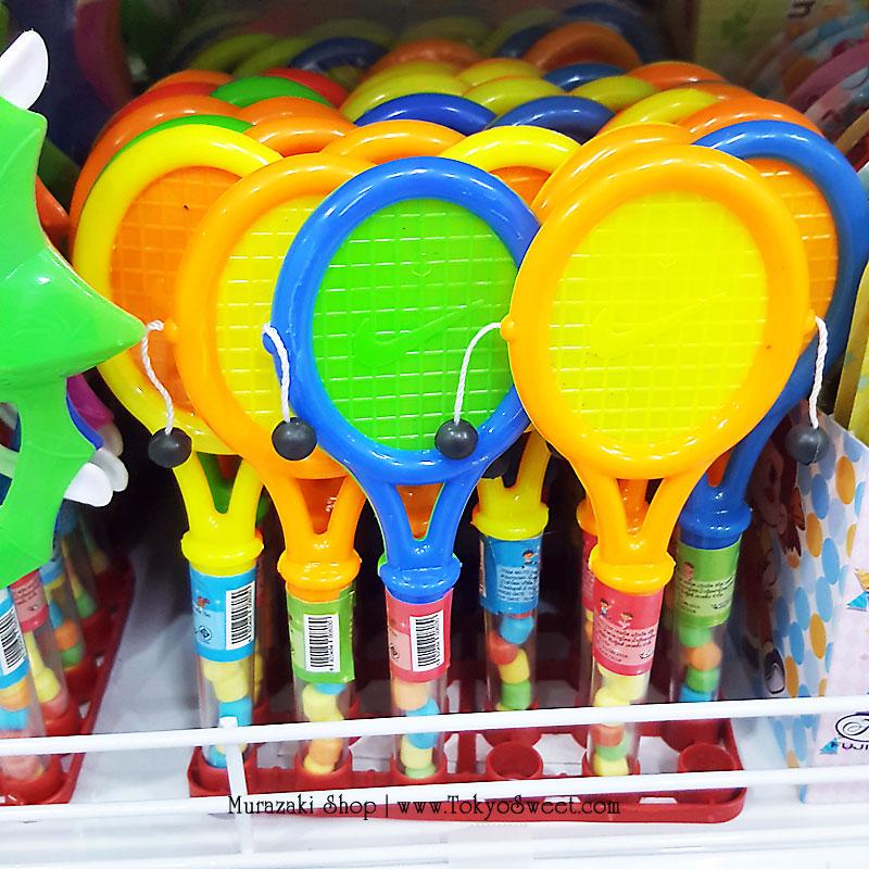 พร้อมส่ง ** Tennis Fruit Candy ลูกอม แถมเทนนิสของเล่นป๋องแป๋ง แพ็ค 30 ชิ้น