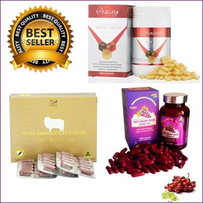 รกแกะmaxi50000 mg. 1กล่อง 100เม็ด +เมล็ดองุ่นแดง 38000 mg.1ปุก100 เม็ด+นมผึ้งออสเวย์ 1600 mg. 1 ปุก