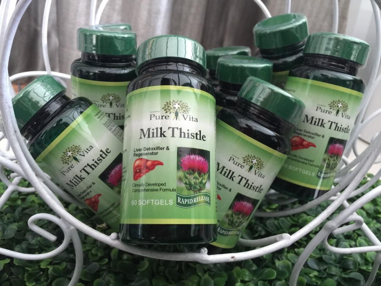 ตามินล้างตับPure Vita Milk Thistle 60 softgels บำรุงตับ ล้างสารพิษตกค้าง ลดไขมันพอกตับ ผิวขาว ใส ไร้ฝ้า เพิ่มประสิทธิภาพอาหารเสริม