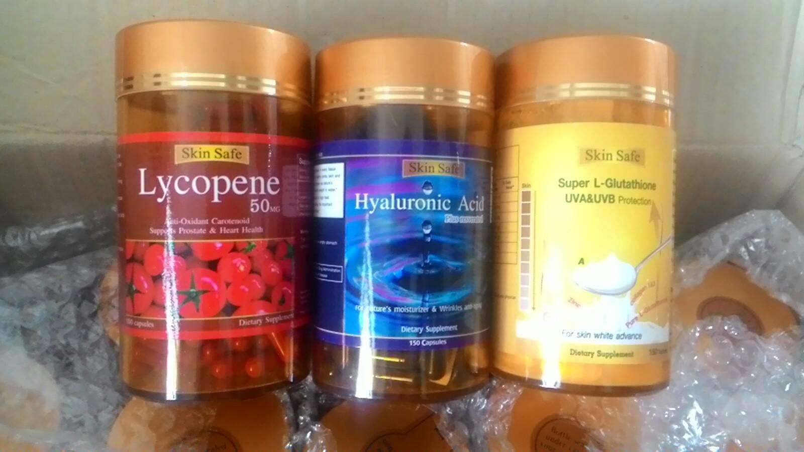 สารสกัดมะเขือเทศ1ปุก 150 เม็ด + ไฮยาลูรอน 1ปุก 150 เม็ด + กลูต้าไธโอน 1ปุก 150 เม็ด