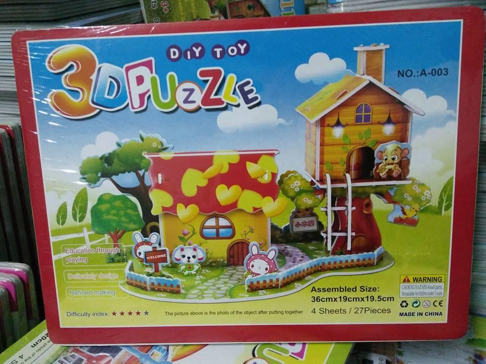 Cartoon Cabin 3D Model Puzzle