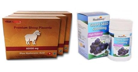 รกแกะ 60000 mg. 1 กล่อง + Healthway Grapeseed 50,000 mg 1 ปุก