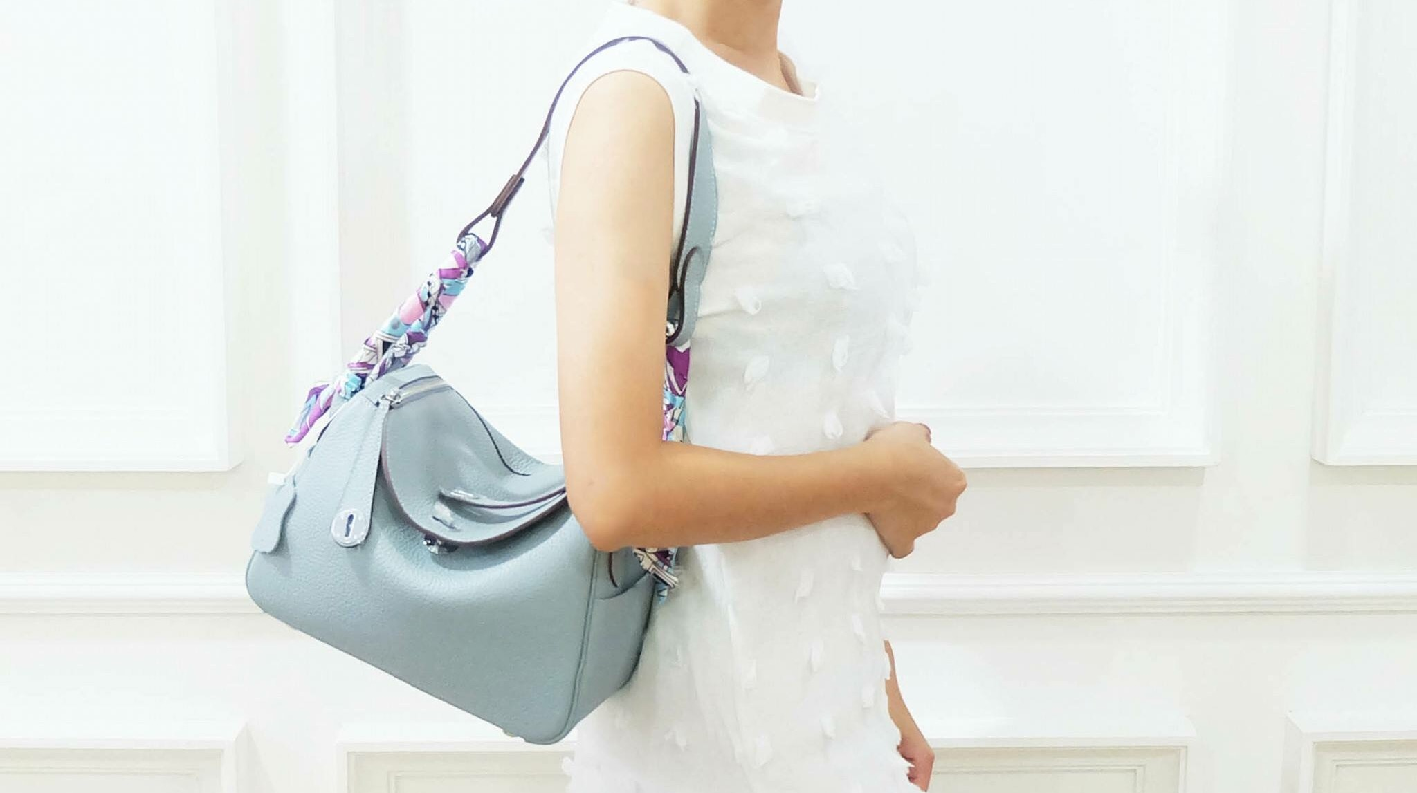 กระเป๋าห hermes Lindy 26' Blue