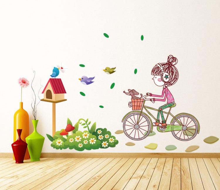 """สติ๊กเกอร์ติดผนัง สำหรับห้องเด็ก """"Girl and Bike จักรยาน"""" ความสูง 80 cm ความกว้าง 120 cm"""
