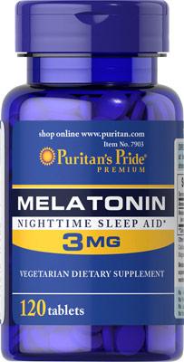 หลับสบาย ผ่อนคลายความตึงเครียด Puritan's Pride Melatonin 3 mg ขนาด 120 tablets