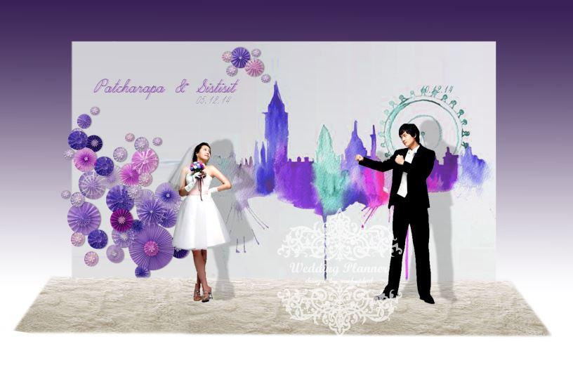 backdropงานแต่งงาน - inkjet backdrop wedding สีน้ำโทนสีม่วง