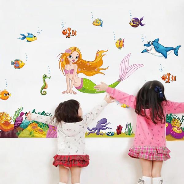 """สติ๊กเกอร์ตกแต่งผนัง สัตว์ต่าง ๆ """"Under the sea with Mermaid"""" ความสูง 95 cm กว้าง 140 cm"""