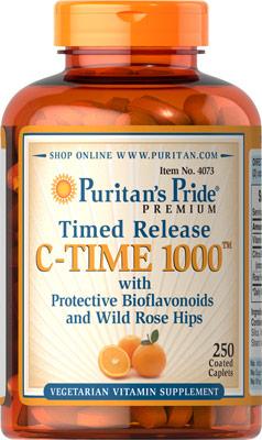 ผิวสวยใส เพิ่มภูมิต้านทาน Puritan's Pride Vitamin C-1000 mg Time Release ขนาด 250 Caplets