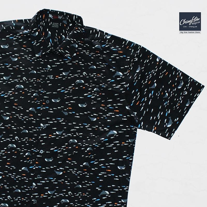 เสื้อเชิ๊ตแขนสั้น ลายปลาวาฬ สีดำ 2XL , 3XL