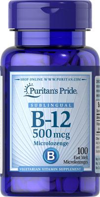 บำรุงโลหิต และระบบประสาท Puritan's Pride Vitamin B-12 500 mcg Sublingual 500 mcg / 100 เม็ด