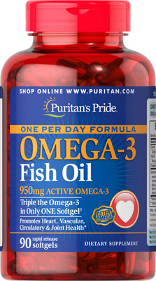 บำรุงสมองและหัวใจ Puritan's Pride Omega-3 Fish Oil 1360 mg (950 mg Active Omega-3) - 90 Softgels