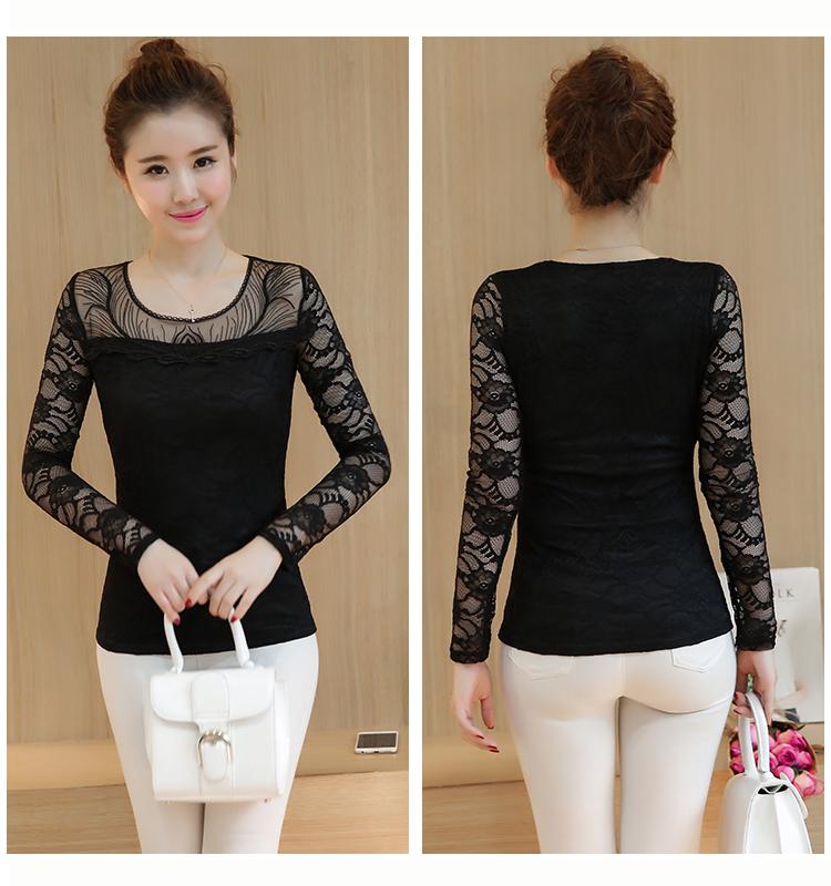 เสื้อลูกไม้เกาหลีใหม่ แขนยาว ขาวปนครีม สีดำ ลวดลายสวย