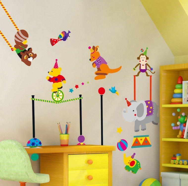 """สติ๊กเกอร์ติดผนัง สำหรับห้องเด็ก """"สวนสนุก"""" ความสูง 93 cm กว้าง 140 cm"""