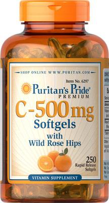 Puritan's Pride Vitamin C-500 mg with Bioflavonoids & Rose Hips ขนาด 250 Softgels