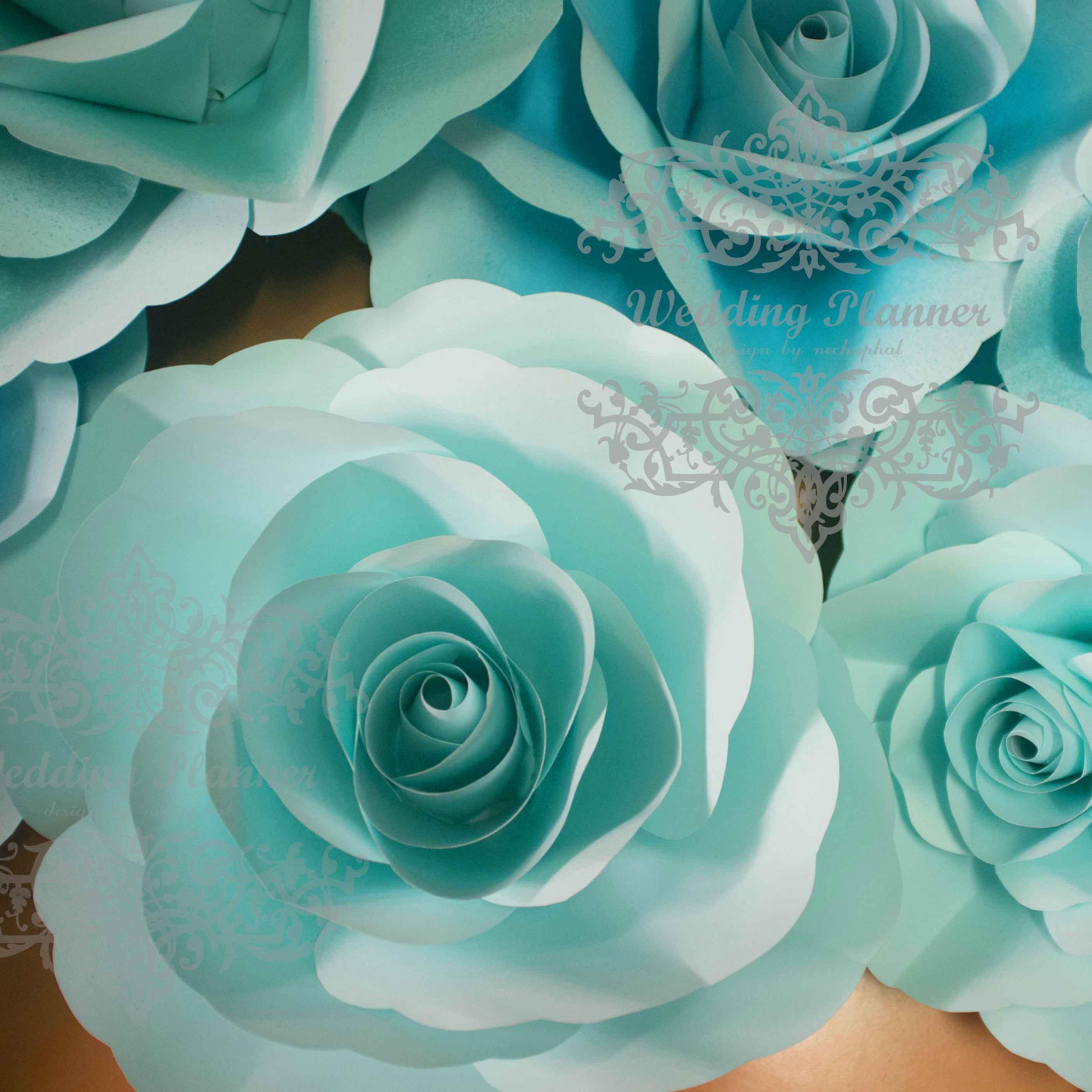 ดอกไม้กระดาษโทนสีฟ้าน้ำทะเล - flower paper backdrop - ขนาด 30 cm