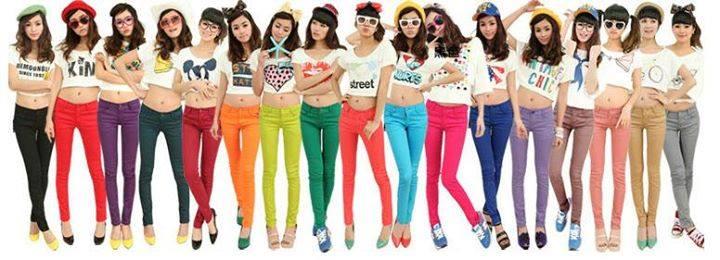 Size S-M 270บาท Skinny Jeans Colorful กางเกงยีนส์สกินนี่