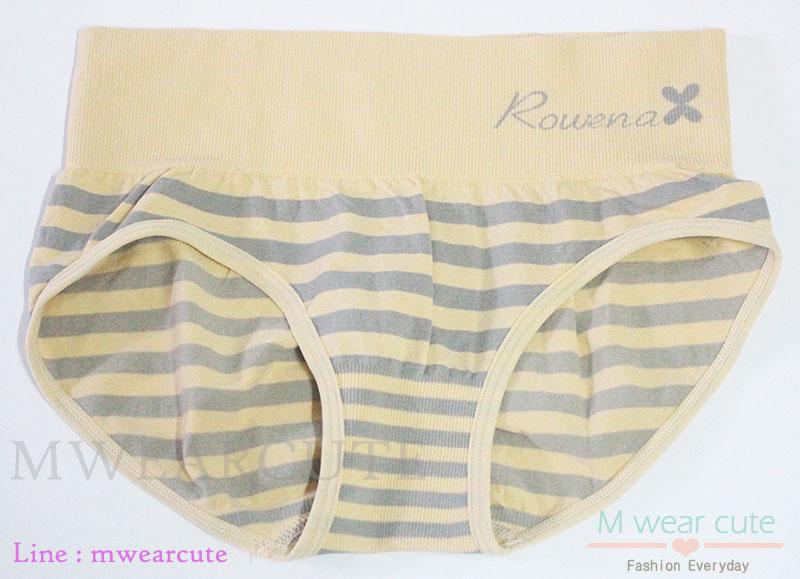 กางเกงในเอวสูง กางเกงในขอบใหญ่ กางเกงในผู้หญิง ลาย Rowena สีเนื้อ